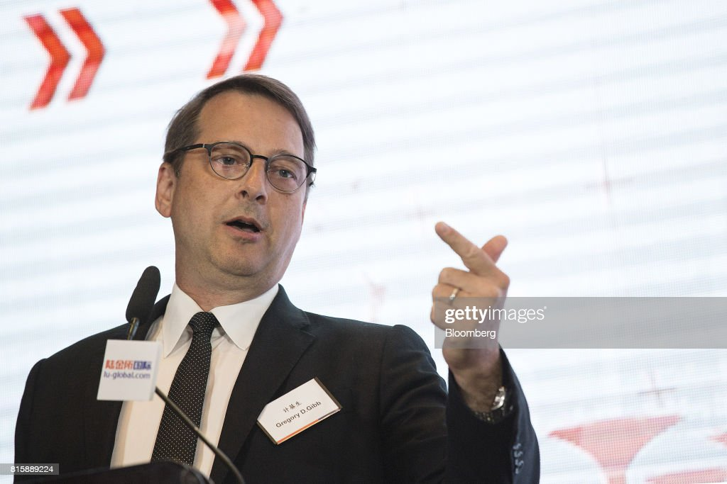 Greg Gibb, chairman and chief executive officer of Shanghai Lujiazui International Finacial Exchange Co. (Lufax), speaks during a news conference in Singapore, on Monday, July 17, 2017. Ping An Insurance Group Co., which has a 43 percent stake in Lufax and is China's largest online lender, will embark on its first foray into wealth and asset management outside Greater China when its online financial division starts servicing international clients out of Singapore next month. Photographer: Ore Huiying/Bloomberg via Getty Images