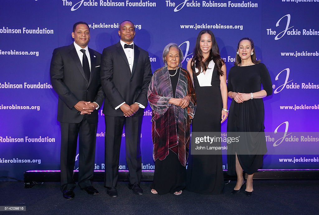Greg Gonsalves Christopher Dean Founder Rachel Robinson Jade Dean and President Della Britton Baeza attend 2016 Jackie Robinson Foundation Awards...