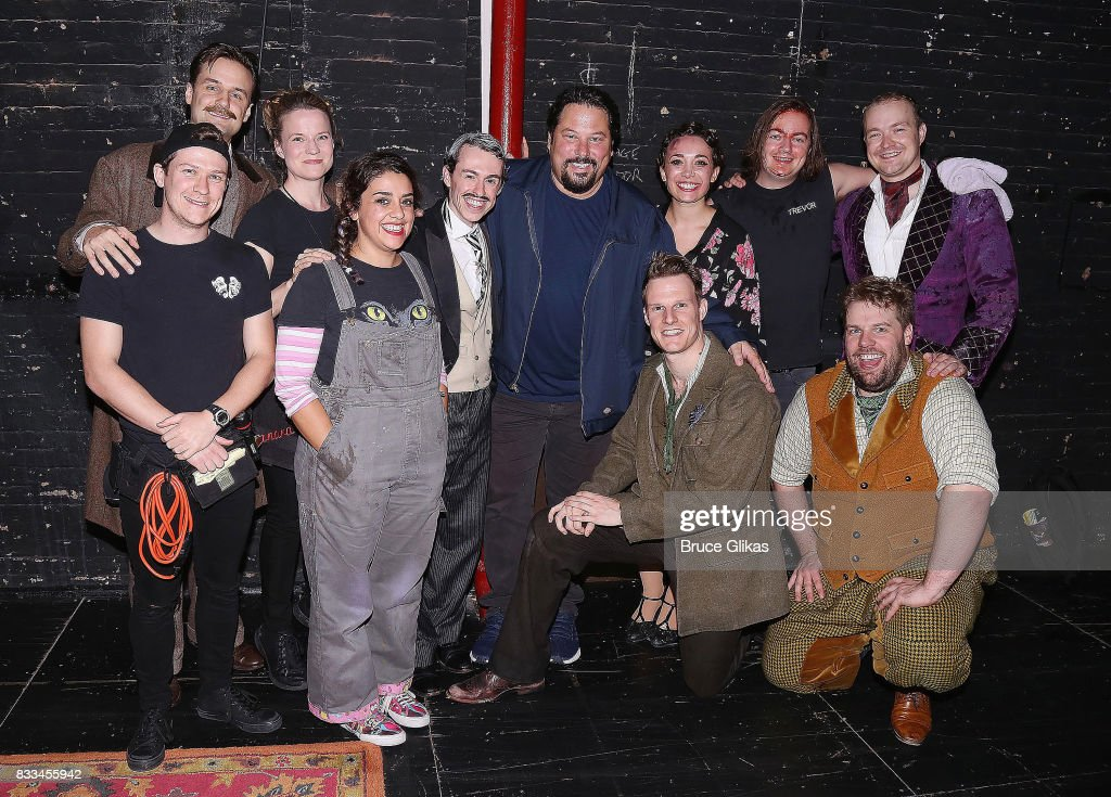 Greg Grunberg poses with the cast backstage at the hit play 'The Play That Goes Wrong' on Broadway at The Lyceum Theatre on August 16, 2017 in New York City.