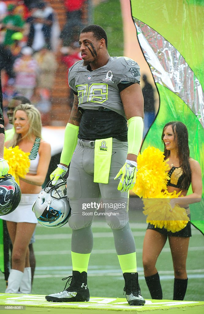 <a gi-track='captionPersonalityLinkClicked' href=/galleries/search?phrase=Greg+Hardy+-+American+Football+Player&family=editorial&specificpeople=11356683 ng-click='$event.stopPropagation()'>Greg Hardy</a> #76 of the Carolina Panthers and Team Sanders is introduced before the 2014 Pro Bowl at Aloha Stadium on January 26, 2014 in Honolulu, Hawaii
