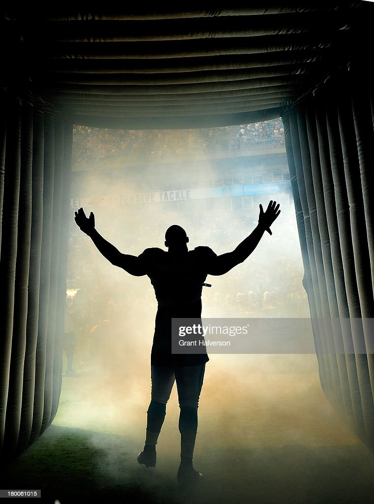 Greg Hardy #76 of the Carolina Panthers is introduced before a game against the Seattle Seahawks during play at Bank of America Stadium on September 8, 2013 in Charlotte, North Carolina.