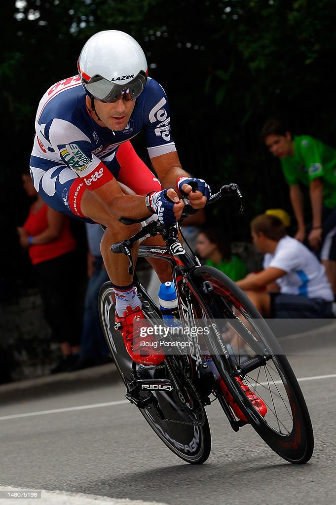 <a gi-track='captionPersonalityLinkClicked' href=/galleries/search?phrase=Greg+Henderson&family=editorial&specificpeople=171423 ng-click='$event.stopPropagation()'>Greg Henderson</a> of New Zeland riding for Lotto-Belisol races to 137th place in the individual time trial on stage nine of the 2012 Tour de France from Arc-et-Senans to Besancon on July 9, 2012 in Besancon, France.