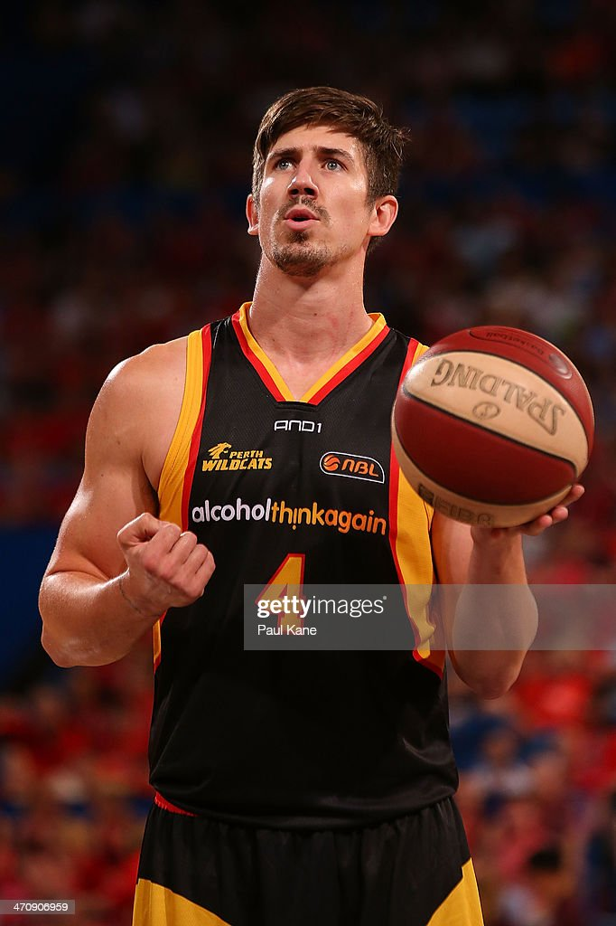 Greg Hire of the Wildcats prepares to shoot a free throw during the round 19 NBL match between the Perth Wildcats and the Melbourne Tigers at Perth Arena on February 21, 2014 in Perth, Australia.