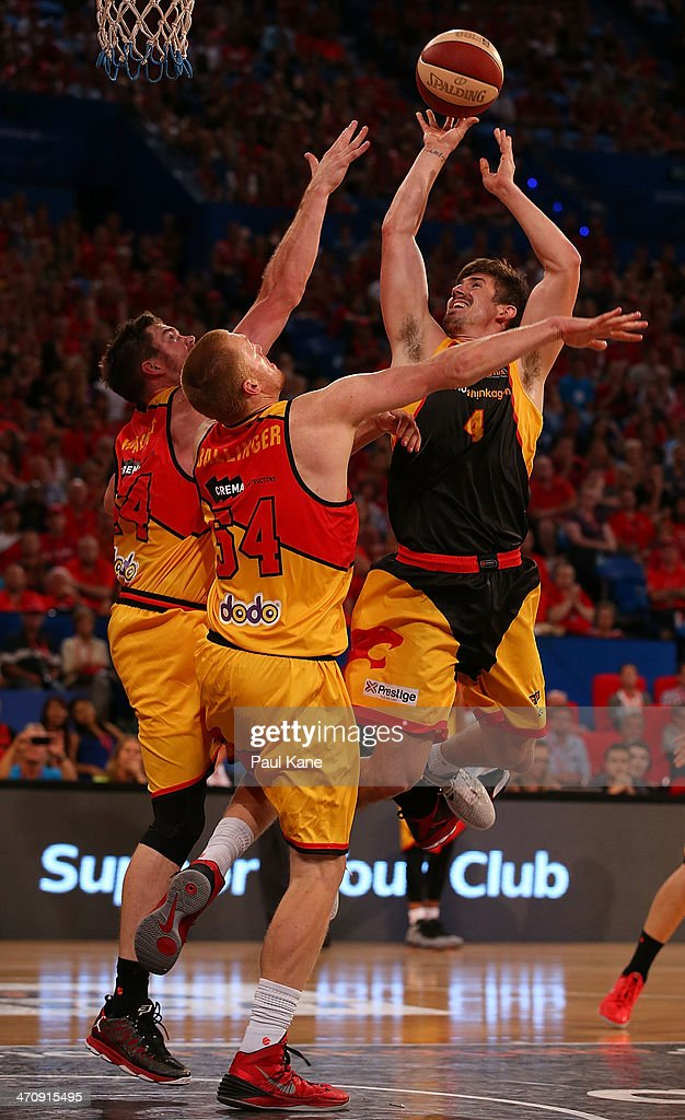 Greg Hire of the Wildcats shoots the ball during the round 19 NBL match between the Perth Wildcats and the Melbourne Tigers at Perth Arena on February 21, 2014 in Perth, Australia.