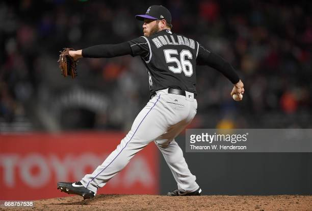 Greg Holland of the Colorado Rockies pitches against the San Francisco Giants in the bottom of the ninth inning at ATT Park on April 13 2017 in San...
