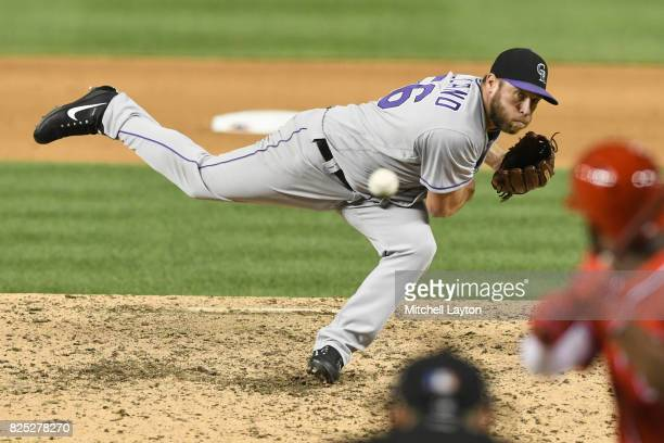 Greg Holland of the Colorado Rockies pitches during a baseball game against the Washington Nationals at Nationals Park on July 29 2017 in Washington...