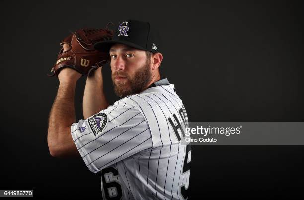 Greg Holland of the Colorado Rockies poses for a portrait during photo day at Salt River Fields at Talking Stick on February 23 2017 in Scottsdale...
