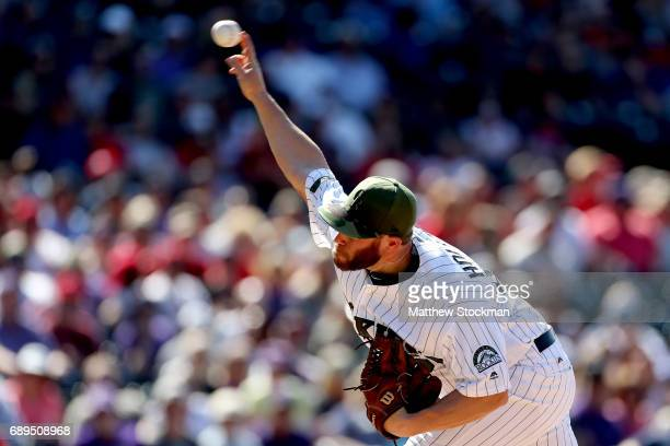 Greg Holland of the Colorado Rockies throws in the ninth inning against the St Louis Cardinals at Coors Field on May 28 2017 in Denver Colorado