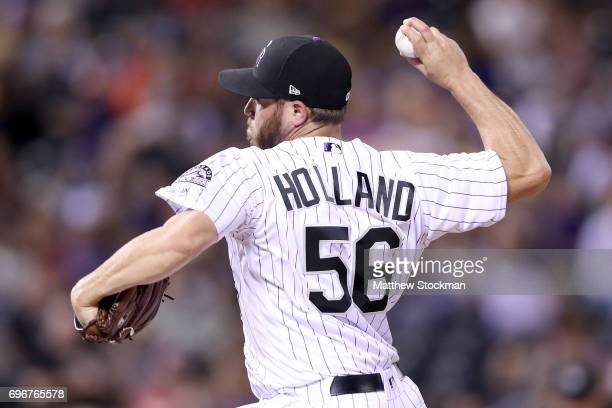 Greg Holland of the Colorado Rockies throws in the ninth inning against the San Francisco Giants at Coors Field on June 16 2017 in Denver Colorado