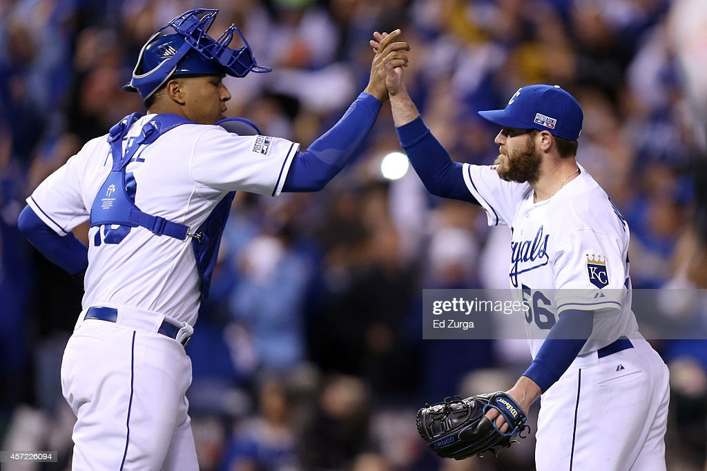 <a gi-track='captionPersonalityLinkClicked' href=/galleries/search?phrase=Greg+Holland+-+Baseball+Player&family=editorial&specificpeople=8603047 ng-click='$event.stopPropagation()'>Greg Holland</a> #56 of the Kansas City Royals celebrates with catcher Salvador Perez #13 after closing out the ninth inning to defeat the Baltimore Orioles 2 to 1 in Game Three of the American League Championship Series at Kauffman Stadium on October 14, 2014 in Kansas City, Missouri.