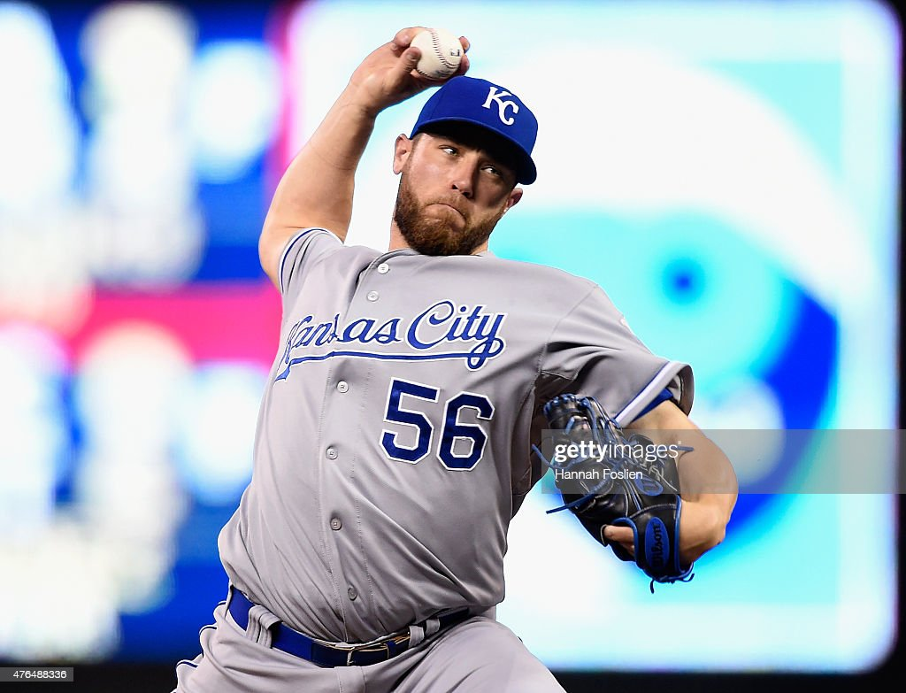 <a gi-track='captionPersonalityLinkClicked' href=/galleries/search?phrase=Greg+Holland+-+Baseball+Player&family=editorial&specificpeople=8603047 ng-click='$event.stopPropagation()'>Greg Holland</a> #56 of the Kansas City Royals delivers a pitch against the Minnesota Twins during the ninth inning of the game on June 9, 2015 at Target Field in Minneapolis, Minnesota. The Royals defeated the Twins 2-0.