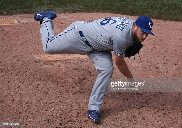 Greg Holland of the Kansas City Royals delivers a pitch in the ninth inning during MLB game action against the Toronto Blue Jays on August 1 2015 at...