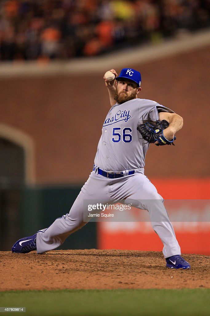 <a gi-track='captionPersonalityLinkClicked' href=/galleries/search?phrase=Greg+Holland+-+Baseball+Player&family=editorial&specificpeople=8603047 ng-click='$event.stopPropagation()'>Greg Holland</a> #56 of the Kansas City Royals pitches in the ninth inning against the San Francisco Giants during Game Three of the 2014 World Series at AT&T Park on October 24, 2014 in San Francisco, California.