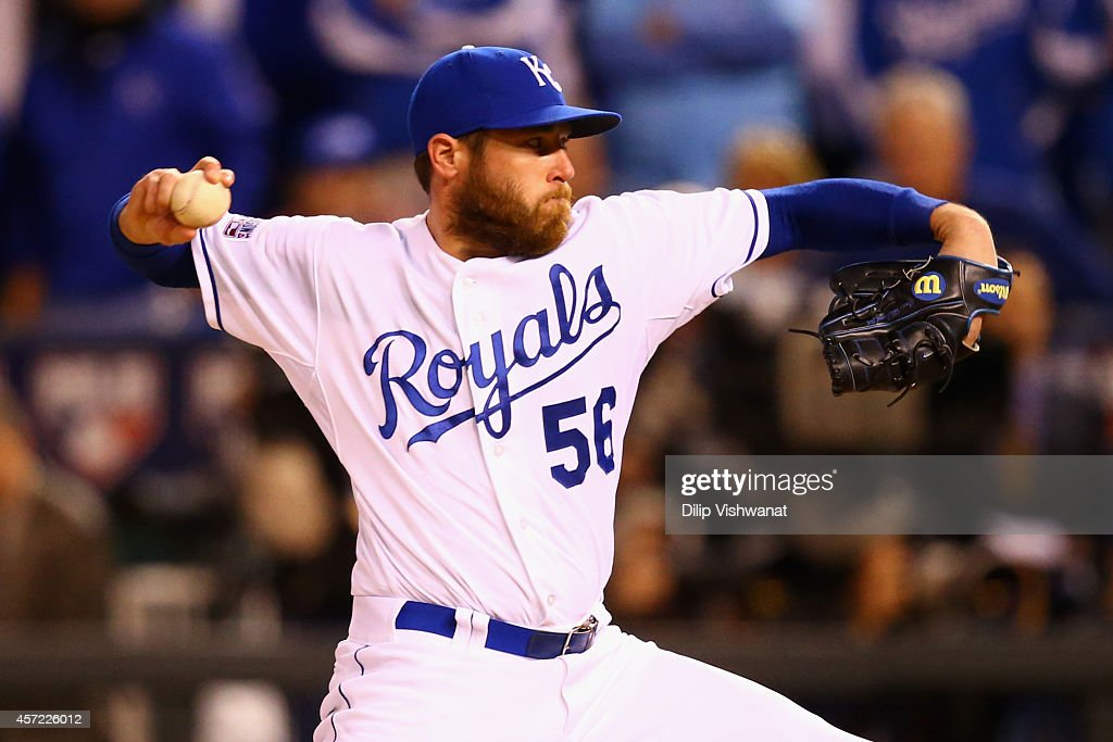 <a gi-track='captionPersonalityLinkClicked' href=/galleries/search?phrase=Greg+Holland+-+Baseball+Player&family=editorial&specificpeople=8603047 ng-click='$event.stopPropagation()'>Greg Holland</a> #56 of the Kansas City Royals throws a pitch in the ninth inning against the Baltimore Orioles during Game Three of the American League Championship Series at Kauffman Stadium on October 14, 2014 in Kansas City, Missouri.
