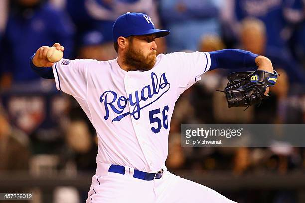Greg Holland of the Kansas City Royals throws a pitch in the ninth inning against the Baltimore Orioles during Game Three of the American League...