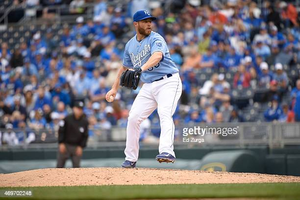 Greg Holland of the Kansas City Royals throws during a game against the Chicago White Sox on April 9 2015 at Kauffman Stadium in Kansas City Missouri