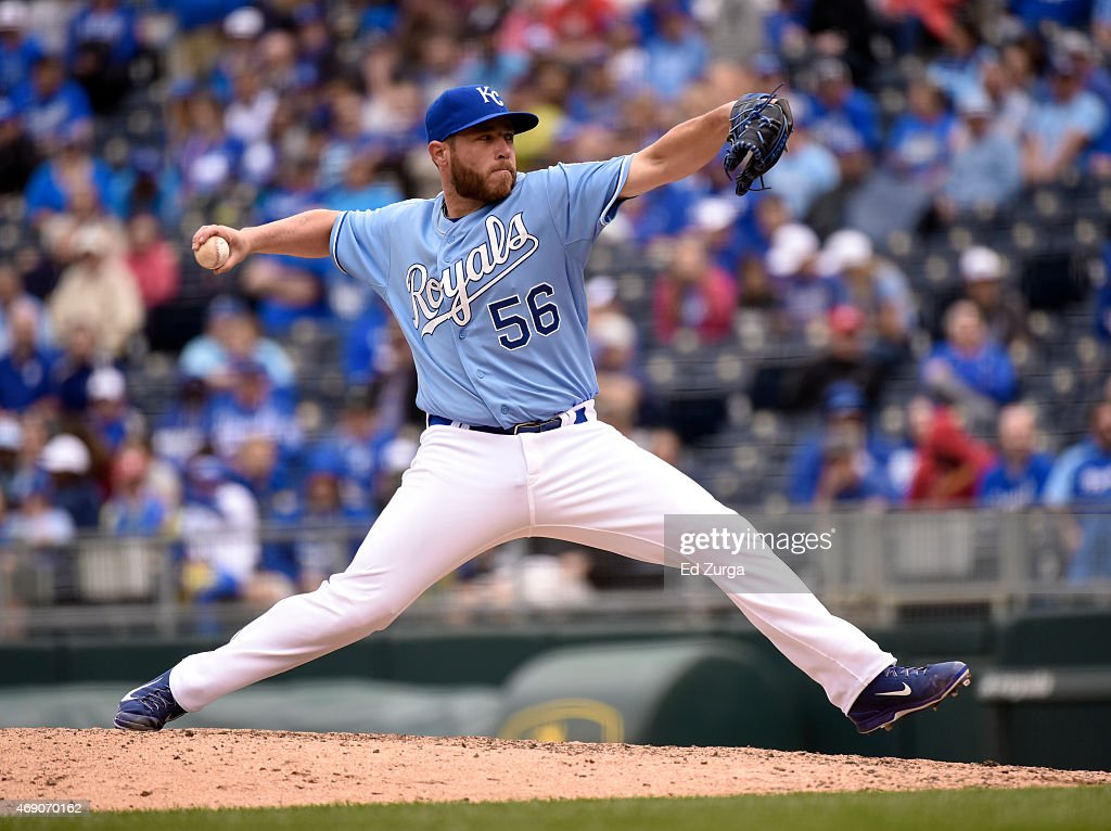 Greg Holland #56 of the Kansas City Royals throws in the ninth inning during a game against the Chicago White Sox on April 9, 2015 at Kauffman Stadium in Kansas City, Missouri.