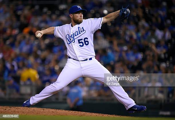 Greg Holland of the Kansas City Royals throws in the ninth inning against the Toronto Blue Jays at Kauffman Stadium on July 10 2015 in Kansas City...