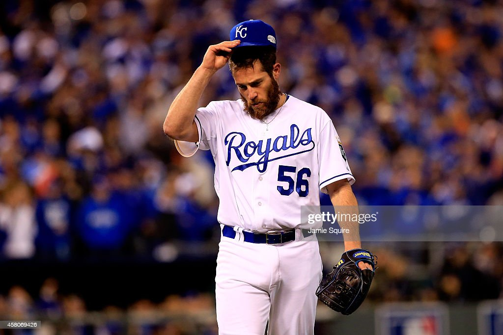 <a gi-track='captionPersonalityLinkClicked' href=/galleries/search?phrase=Greg+Holland+-+Baseball+Player&family=editorial&specificpeople=8603047 ng-click='$event.stopPropagation()'>Greg Holland</a> #56 of the Kansas City Royals walks off of the mound after pitching in the ninth inning against the San Francisco Giants during Game Seven of the 2014 World Series at Kauffman Stadium on October 29, 2014 in Kansas City, Missouri.