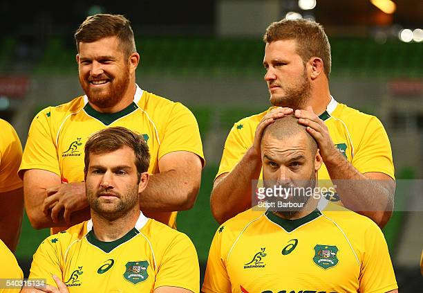 Greg Holmes Scott Fardy and James Slipper of the Wallabies during a Wallabies team photo at AAMI Park on June 15 2016 in Melbourne Australia