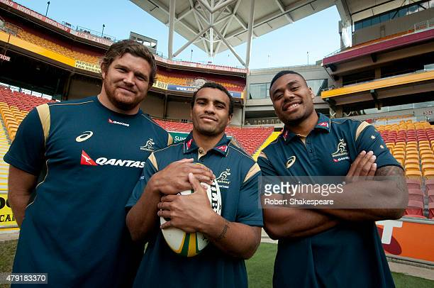 Greg Holmes Will Genia and Samu Kerevi of Wallabies during the Australian Wallabies squad announcement on July 2 2015 in Brisbane Australia