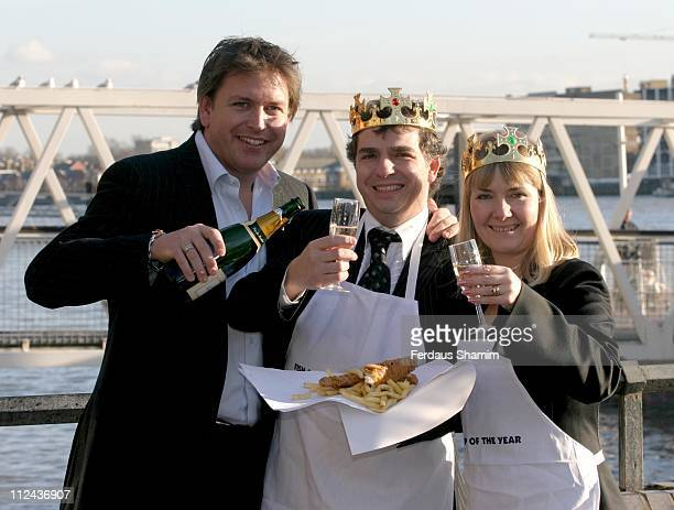 Greg Howard James Martin and Caroline Howard during Fish and Chips Shop of the Year 2005 Photocall at The Tower Thistle Hotel in London Great Britain