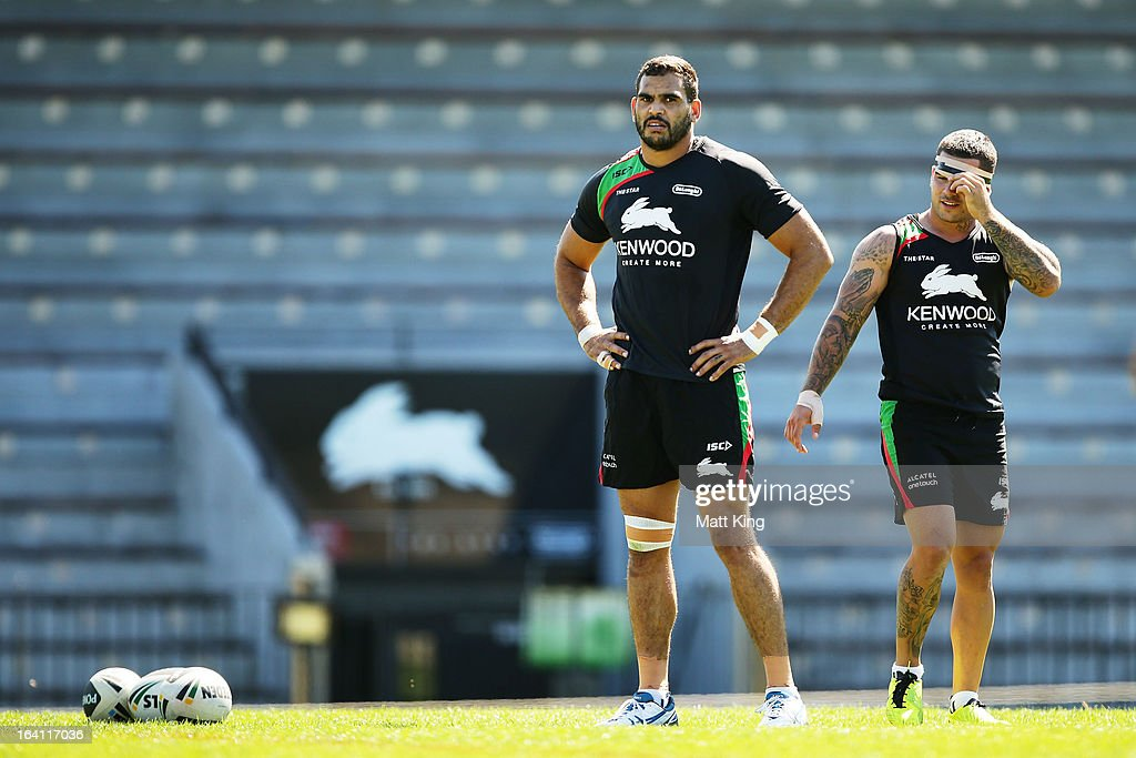 Greg Inglis (L) and Adam Reynolds (R) look on during a South Sydney Rabbitohs NRL training session at Redfern Oval on March 20, 2013 in Sydney, Australia.