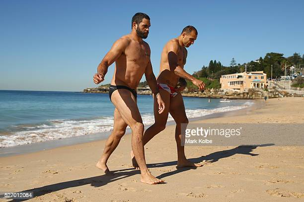 Greg Inglis and Blake Ferguson leave the water during the Australia Kangaroos Test team recovery session at Coogee Beach on May 2 2016 in Sydney...