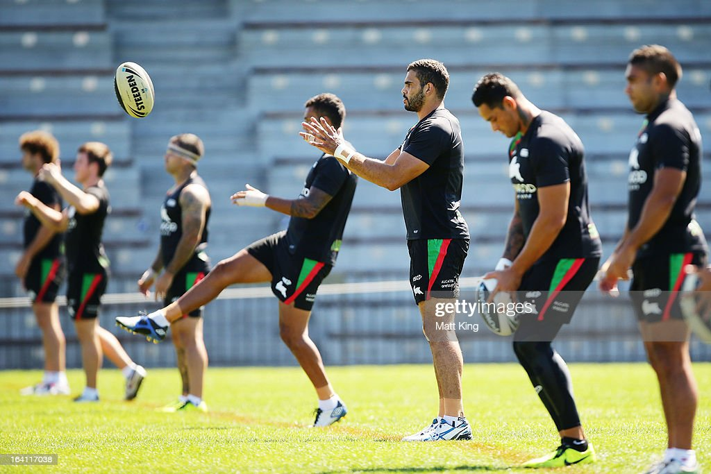 Greg Inglis completes a drill during a South Sydney Rabbitohs NRL training session at Redfern Oval on March 20, 2013 in Sydney, Australia.