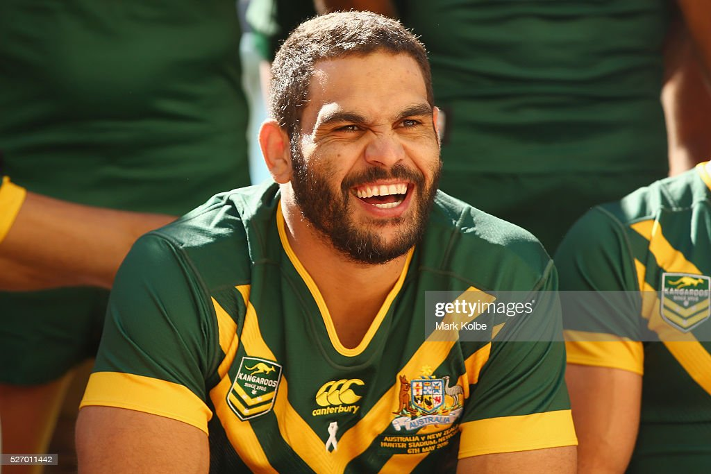 <a gi-track='captionPersonalityLinkClicked' href=/galleries/search?phrase=Greg+Inglis&family=editorial&specificpeople=597192 ng-click='$event.stopPropagation()'>Greg Inglis</a> laughs during the Australia Kangaroos Test team photo session at Crowne Plaza Coogee on May 2, 2016 in Sydney, Australia.