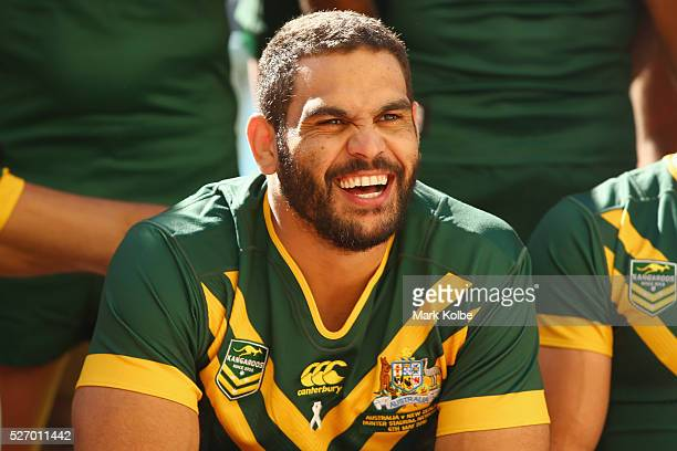 Greg Inglis laughs during the Australia Kangaroos Test team photo session at Crowne Plaza Coogee on May 2 2016 in Sydney Australia