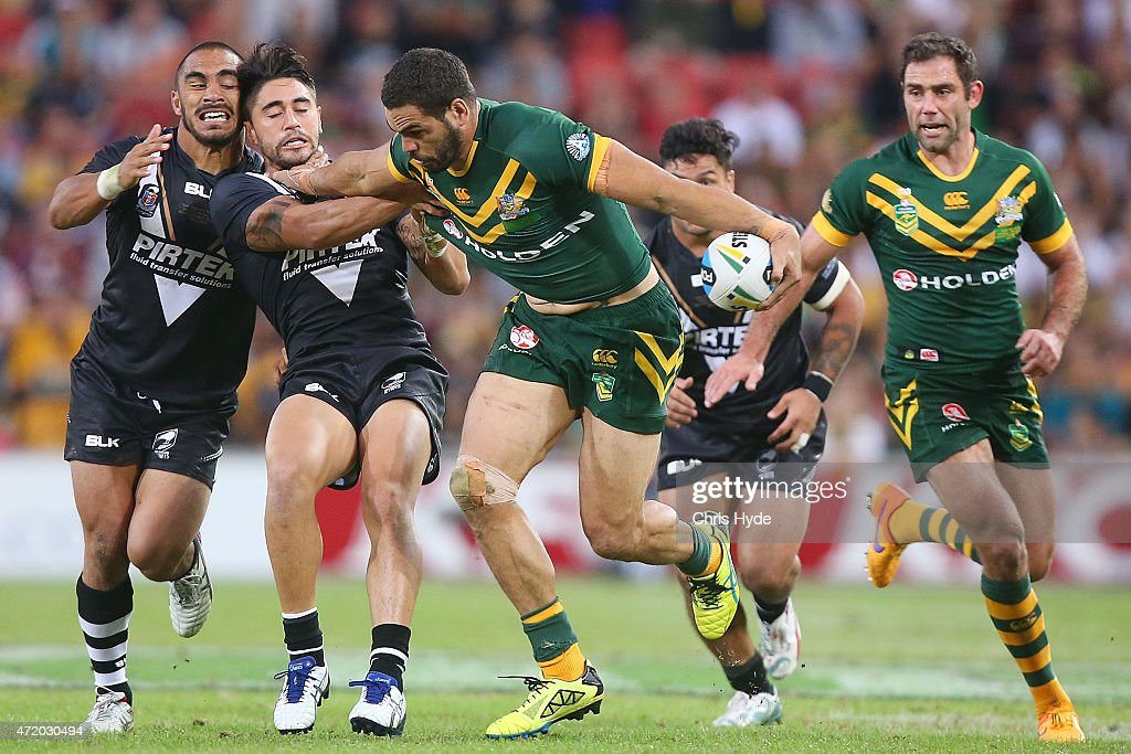 Greg Inglis of Australia makes a break during the TransTasman Test match between the Australia Kangaroos and the New Zealand Kiwis at Suncorp Stadium...