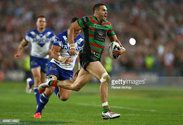 Greg Inglis of Souths scores a try during the 2014 NRL Grand Final match between the South Sydney Rabbitohs and the Canterbury Bulldogs at ANZ...