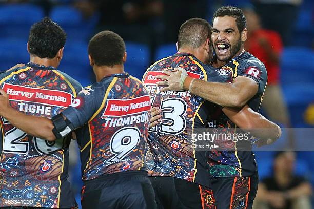 Greg Inglis of the Indigenous All Stars celebrates a try during the NRL preseason match between the Indigenous All Stars and the NRL All Stars at...