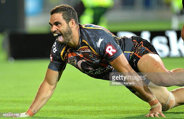 Greg Inglis of the Indigenous All Stars celebrates after scoring a try during the NRL preseason match between the Indigenous All Stars and the NRL...