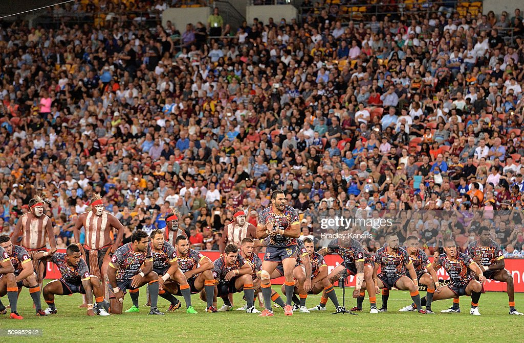 <a gi-track='captionPersonalityLinkClicked' href=/galleries/search?phrase=Greg+Inglis&family=editorial&specificpeople=597192 ng-click='$event.stopPropagation()'>Greg Inglis</a> of the Indigenous All Stars leads his team into an indigenous cultural war dance before the NRL match between the Indigenous All-Stars and the World All-Stars at Suncorp Stadium on February 13, 2016 in Brisbane, Australia.