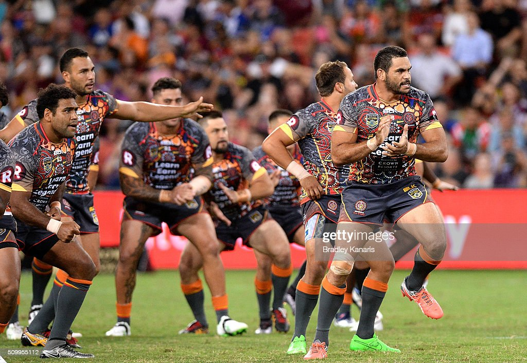 Greg Inglis of the Indigenous All Stars leads his team mates into an indigenous war cry before the NRL match between the Indigenous All-Stars and the World All-Stars at Suncorp Stadium on February 13, 2016 in Brisbane, Australia.