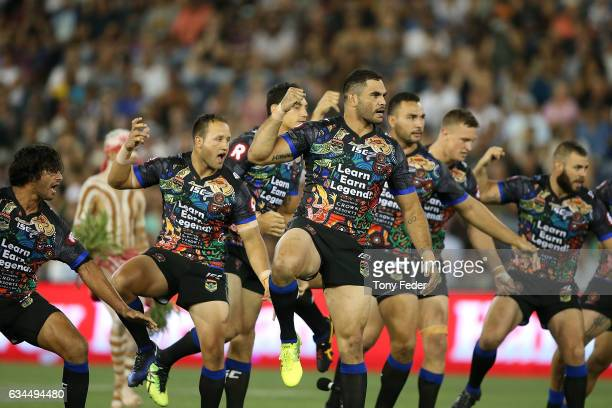 Greg Inglis of the Indigenous All Stars leads the war cry during the NRL All Stars match between the 2017 Harvey Norman All Stars and the NRL World...
