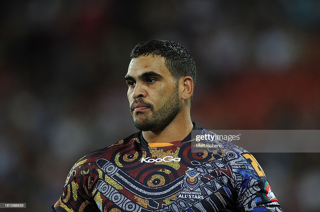 Greg Inglis of the Indigenous All Stars looks on during the NRL All Stars Game between the Indigenous All Stars and the NRL All Stars at Suncorp Stadium on February 9, 2013 in Brisbane, Australia.