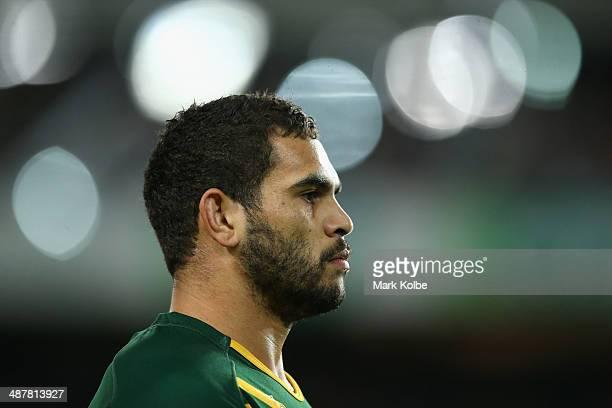 Greg Inglis of the Kangaroos looks on during the ANZAC Test match between the Australian Kangaroos and the New Zealand Kiwis at Allianz Stadium on...