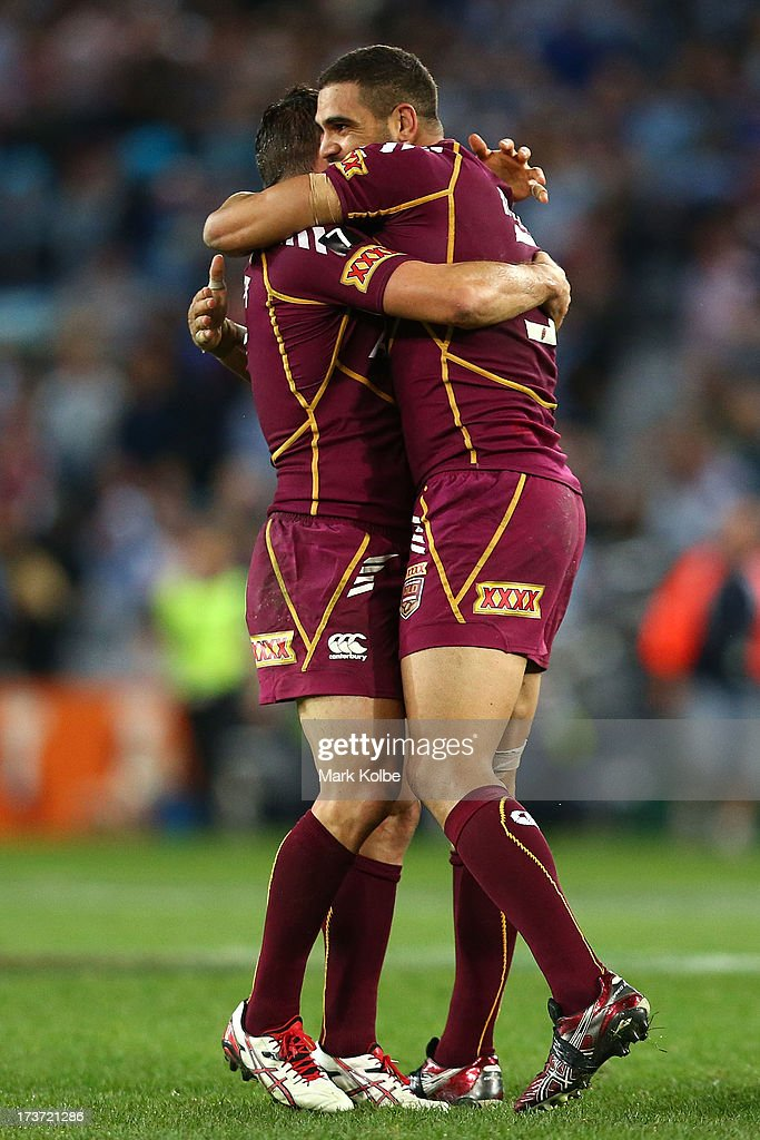 Greg Inglis of the Maroons celebrates winning game three of the ARL State of Origin series between the New South Wales Blues and the Queensland Maroons at ANZ Stadium on July 17, 2013 in Sydney, Australia.