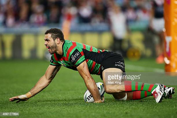 Greg Inglis of the Rabbitohs celebrates scoring his first try during the First Preliminary Final match between the South Sydney Rabbitohs and the...