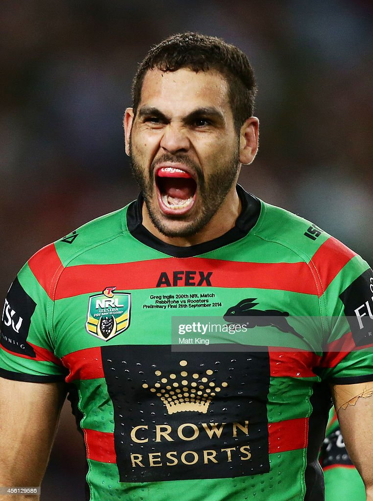 Greg Inglis of the Rabbitohs celebrates scoring his first try during the First Preliminary Final match between the South Sydney Rabbitohs and the Sydney Roosters at ANZ Stadium on September 26, 2014 in Sydney, Australia.