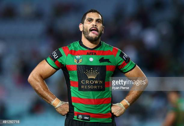 Greg Inglis of the Rabbitohs looks dejected after the round 10 NRL match between the South Sydney Rabbitohs and the Melbourne Storm at ANZ Stadium on...