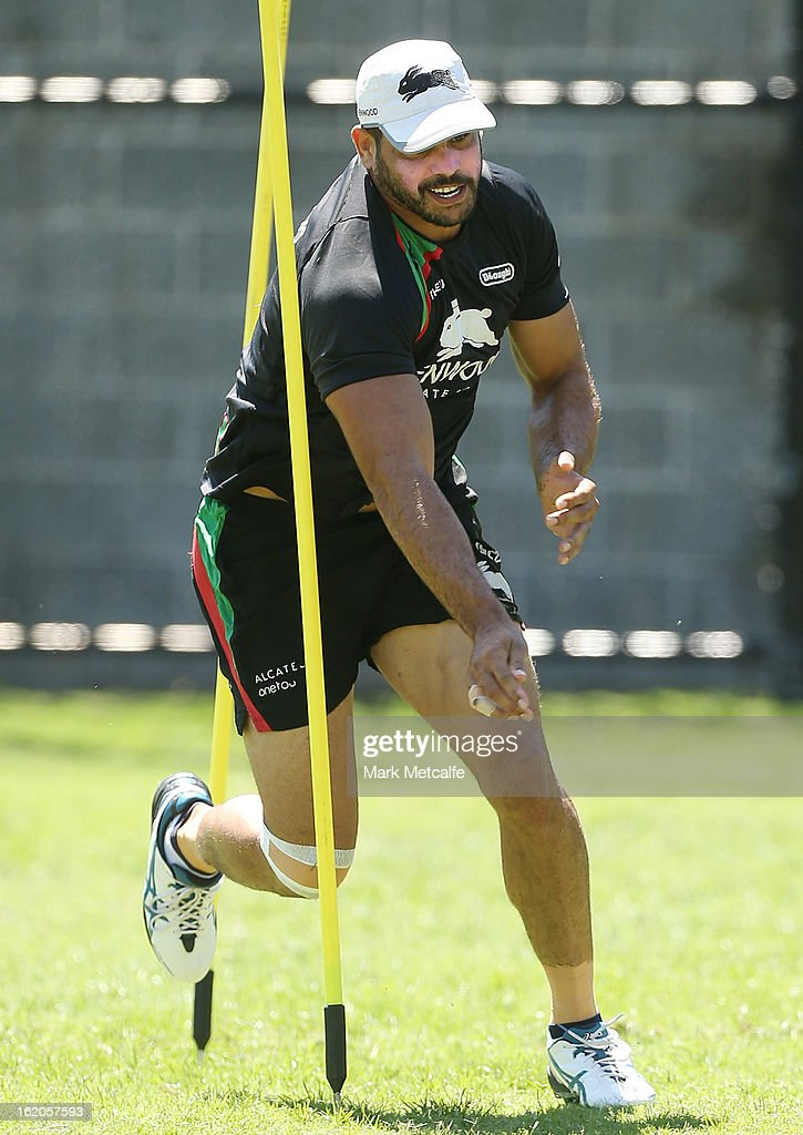 Greg Inglis performs a fitness drill during a South Sydney Rabbitohs NRL training session at the National Centre for Indigenous Excellence on February 19, 2013 in Sydney, Australia.