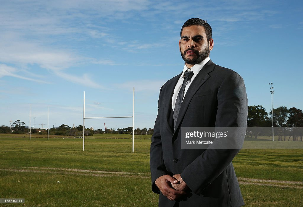 Greg Inglis poses during a South Sydney Rabbitohs NRL media announcement at Heffron Park on August 7, 2013 in Sydney, Australia.