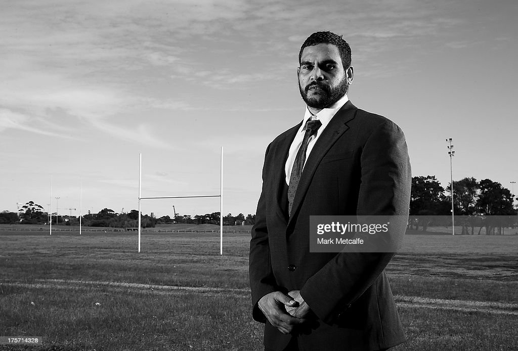 <a gi-track='captionPersonalityLinkClicked' href=/galleries/search?phrase=Greg+Inglis&family=editorial&specificpeople=597192 ng-click='$event.stopPropagation()'>Greg Inglis</a> poses during a South Sydney Rabbitohs NRL media announcement at Heffron Park on August 7, 2013 in Sydney, Australia.