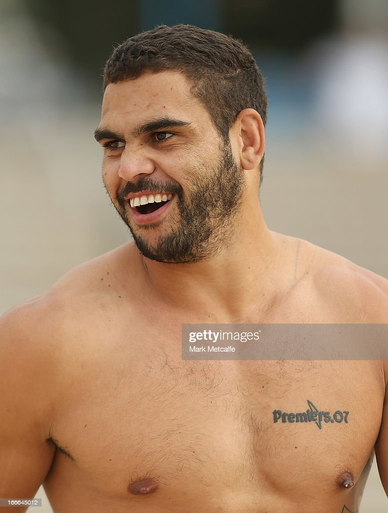 <a gi-track='captionPersonalityLinkClicked' href=/galleries/search?phrase=Greg+Inglis&family=editorial&specificpeople=597192 ng-click='$event.stopPropagation()'>Greg Inglis</a> smiles during an Australian Kangaroos training session at Coogee Beach on April 15, 2013 in Sydney, Australia.