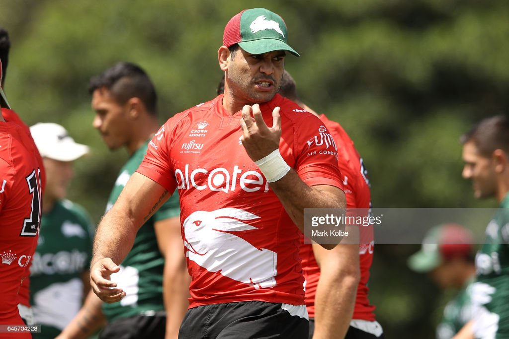 Greg Inglis speaks to team member during the South Sydney Rabbitohs NRL training session at Redfern Oval on February 27, 2017 in Sydney, Australia.