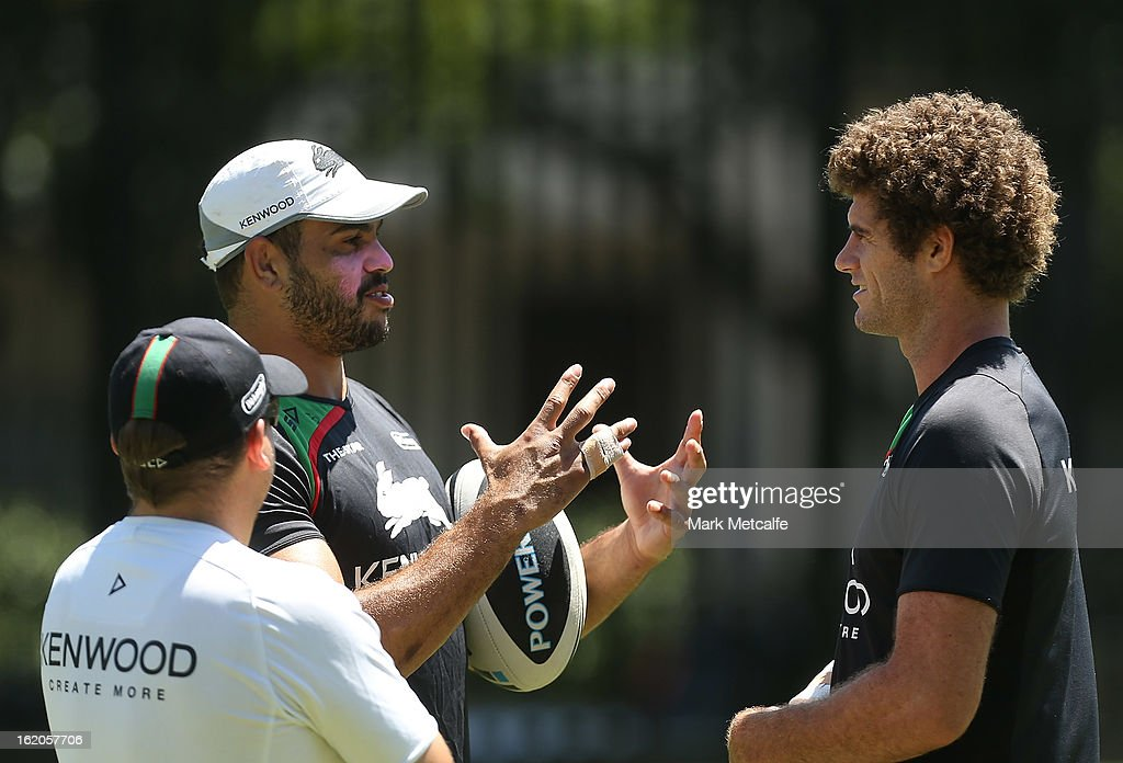Greg Inglis talks to Matt King during a South Sydney Rabbitohs NRL training session at the National Centre for Indigenous Excellence on February 19, 2013 in Sydney, Australia.